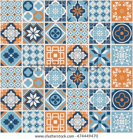Decorative tile pattern design. Vector illustration.