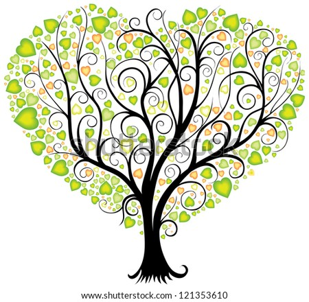 Decorative tree with leaves in shape of heart - stock vector