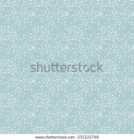 Decorative trees seamless pattern. Floral background in blue and white colors. Vector background - stock vector