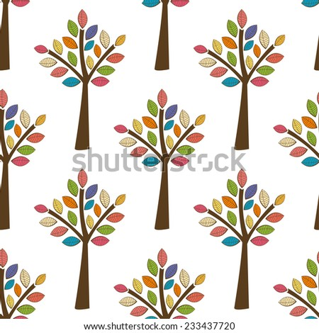 Decorative trees seamless pattern. Vector illustration for design of gift packs, wrap,  patterns fabric, wallpaper, web sites and other. - stock vector
