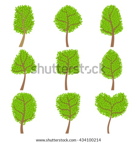 Decorative Trees Set Of Decorative Style Hand Drawn Vector Stickers Isolated On White Background - stock vector