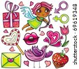 Decorative valentine elements:cute cupid shooting arrows, chocolate dipped strawberry, heart shaped lollipop, love letter  present, singing love bird, flower,   male and female gender signs - stock vector