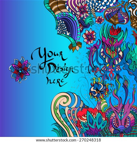 Decorative vector background floral underwater design for text or logo - stock vector