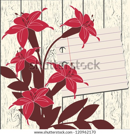 Decorative vector background - flowers and sheet of paper on wood