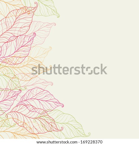 Decorative vector background with autumn leaves