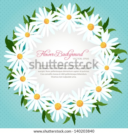 Decorative vector background with chamomiles