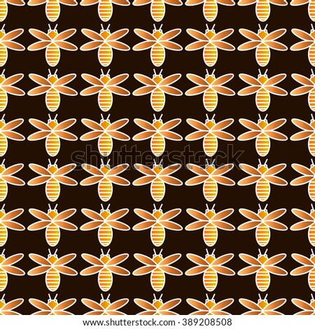 Decorative vector bees background - brown pattern