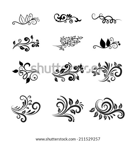 Decorative Vector Calligraphic Floral Design Elements for Cards and Other Graphic Papers