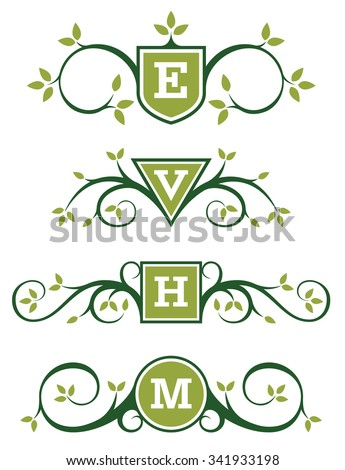 Decorative Vector Emblem or Monogram Designs with ornate branch and leaf ornaments. Add your own text. Easy to edit and fully scalable. - stock vector