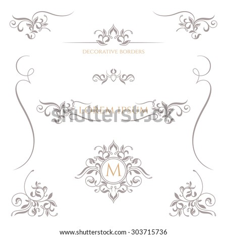 decorative vector frame monogram border template のベクター画像素材