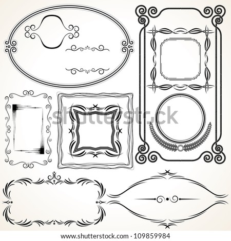 Decorative Vector Frames, vector collection ready for your invitation or announcement. - stock vector