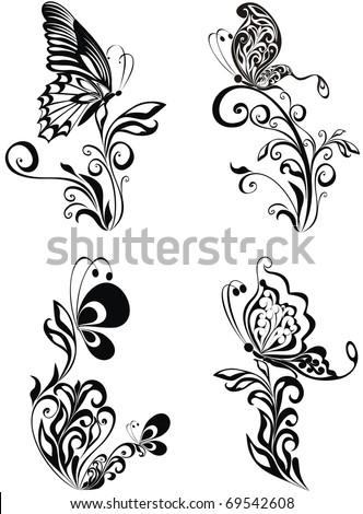Decorative vector ornament. Vector floral ornament with butterfly, element for design - stock vector