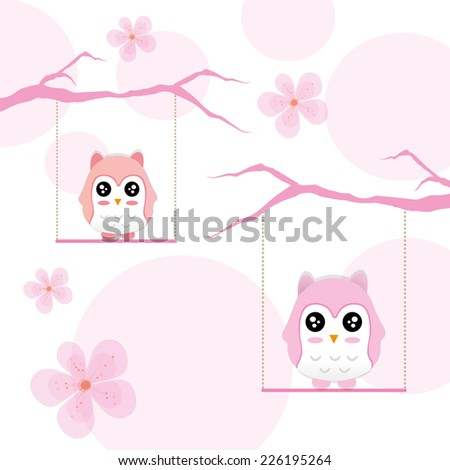 Decorative Vector Owl and twig on pink background