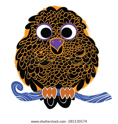 Decorative Vector Owl black silhouette on grunge paint spot. Vector Owl sitting on branch. - stock vector