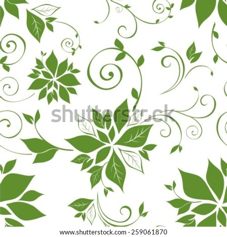 Decorative vector seamless spring pattern with leaf - stock vector