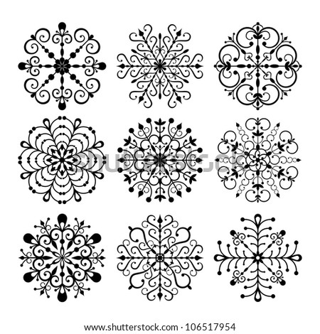 Decorative vector Snowflakes isolated on white background. EPS 8 vector illustration  for Christmas design - stock vector
