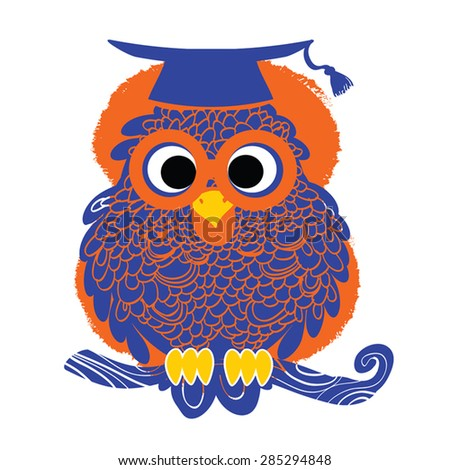 Decorative Vector Teacher Owl blue silhouette on grunge paint spot. Vector Owl siiting on branch. Owl in  graduation hat and spectacles. Symbol of Education,School,Knowledge. - stock vector