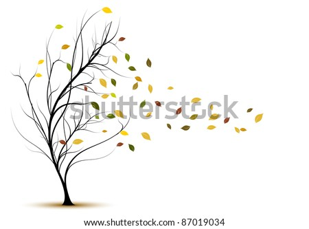 decorative vector tree silhouette in autumn with brown leaves and wind