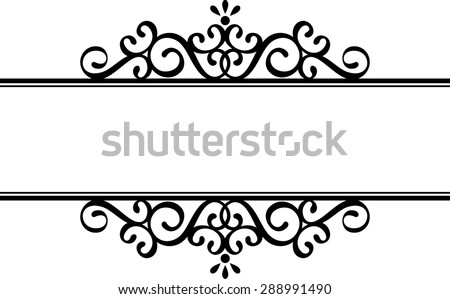decorative vignette silhouette in black isolated on white background - stock vector