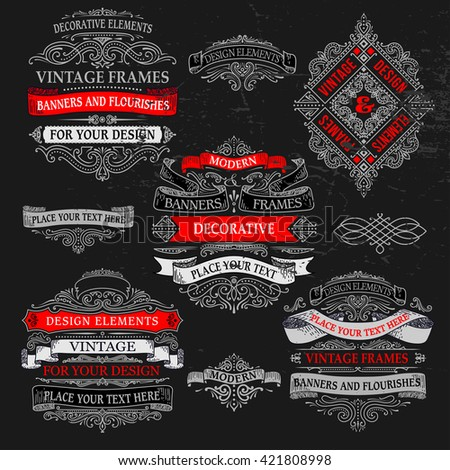 decorative vintage banners and elements for your design - stock vector