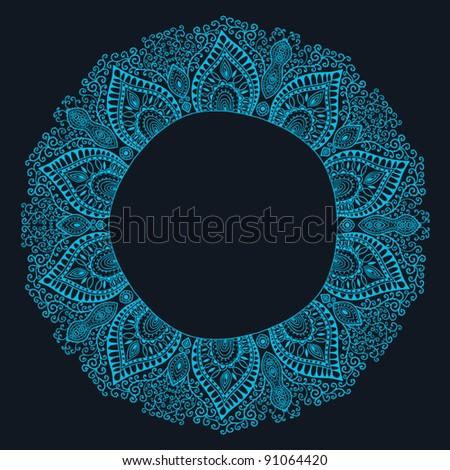 Decorative Vintage Design Element, illustration with lacy frame decoration - stock vector