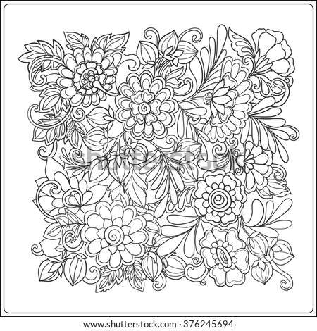 Decorative Vintage Flowers Pattern Good For Coloring Book Adult And Older Children