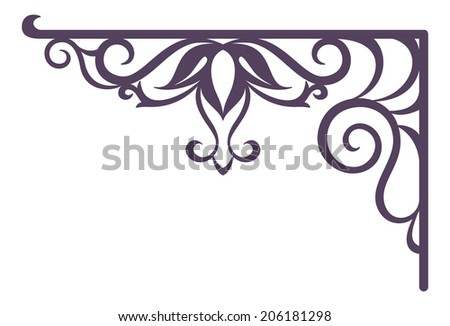 Decorative vintage forged bracket for street signboard, silhouette isolated on white background. Vector - stock vector