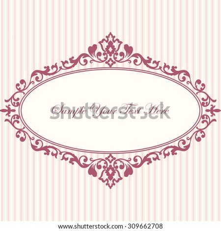 Decorative vintage frame. Elegant invitation card. Vector damask illustration. - stock vector