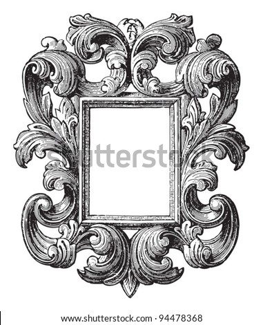 Decorative vintage frame / vintage illustrations from Meyers Konversations-Lexikon 1897 - stock vector