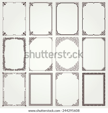 Decorative vintage frames and borders set #4 vector - stock vector