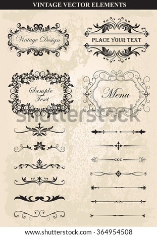 Decorative vintage frames and borders set vector.Vector Vintage Ornament  Calligraphic elements, borders, page dividers, page decoration and ornaments. Vintage calligraphic elements.