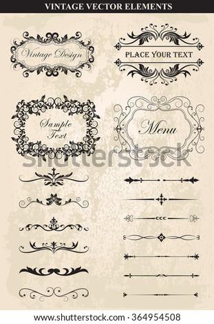 Decorative vintage frames and borders set vector.Vector Vintage Ornament  Calligraphic elements, borders, page dividers, page decoration and ornaments. Vintage calligraphic elements. - stock vector