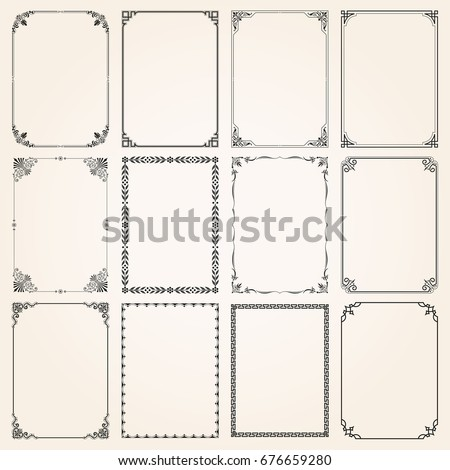 Decorative vintage frames borders backgrounds rectangle proportions set 5 vector