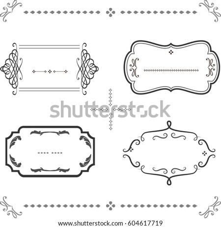 Decorative Vintage Graphic Frames Borders Set Stock Vector 604617719 ...