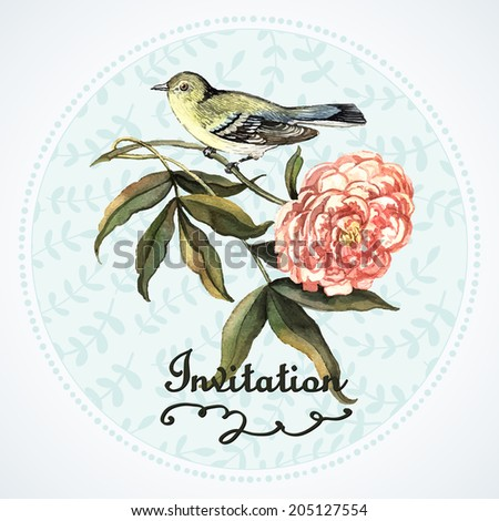 Decorative vintage invitation with bird. Illustration for greeting cards, invitations, and other printing projects. - stock vector