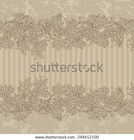 Decorative vintage seamless frame branch of grapes, simple template advertising flyer. Best for web banners, booklet, menus. Vector illustration - stock vector