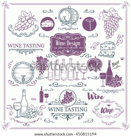Decorative vintage wine icons. Ink vintage design for wine shop. Vector design elements of wine and calligraphy swirl for the design of wine labels cards brochures. - stock vector