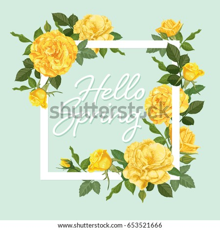 Decorative Vintage Yellow Roses And Bud With Leaves In Square Shape Vector Set Of Blooming