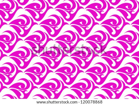 Decorative wallpaper pattern on pink color - stock vector