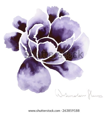 Decorative watercolor isolated flower for your design - stock vector