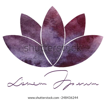 Decorative watercolor lotus flower for your design - stock vector
