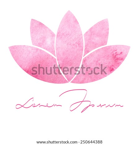 Decorative watercolor pink lotus for your design - stock vector