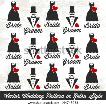 Decorative Wedding Pattern in Vintage Style - stock vector