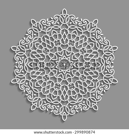Decorative White Ornament on Grey Background with Shadows - stock vector