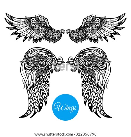Decorative wings set with hand drawn ornamental feathers isolated vector illustration - stock vector