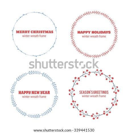 Decorative winter circle wreath collection for christmas invitations, frames and borders - stock vector