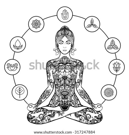 Decorative yoga meditation poster of woman sitting crossed-legged in stress relieving lotus pose black line abstract vector illustration - stock vector