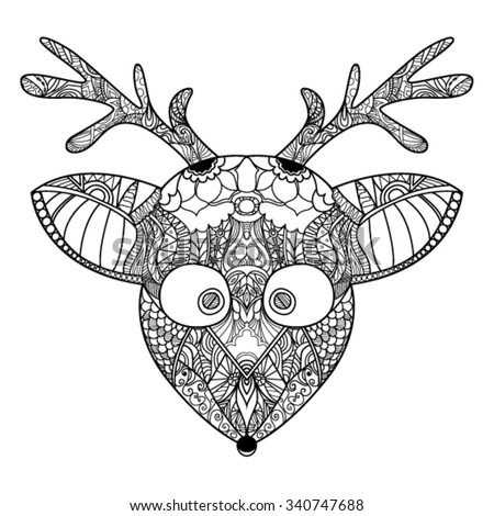 Decorative zendoodle reindeer. Template greeting card, invitations, printing on bags, a t-shirt and  for any other kind of design flyers, posters holiday, tattoo, coloring books, vector illustration - stock vector