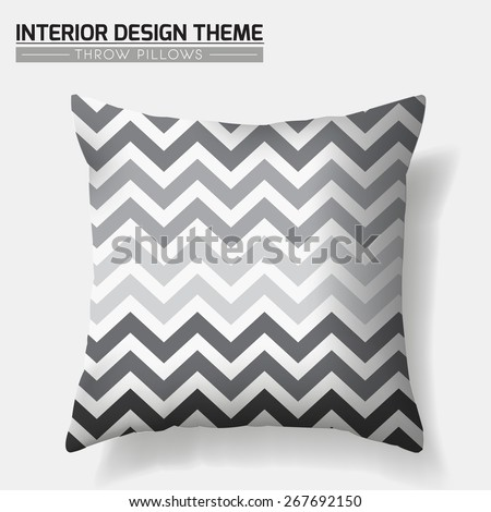 Decorative ZigZag Throw Pillow in Grey tints design template. Original geometric pattern is masked. Modern interior design element. Creative Sofa Toss Pillow. Vector design is layered editable  - stock vector