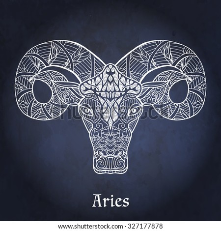 Decorative Zodiac sign Aries on night sky background in zentangle style - stock vector